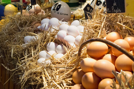 editorial image from a Barcelona market, eggs