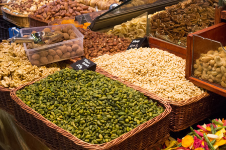 editorial image from a Barcelona market, dried fruits, seeds