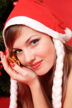 Blonde Beauty in Santa's hat Stock Photo - 11536578