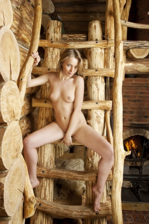 Beautiful blonde in a farmhouse. Stock Photo