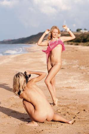 naked breast: Naked girl photographer  Beach, Black Sea