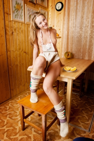 Topless housewife in the rural kitchens. Stock Photo - 17354449