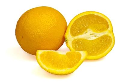 quartered: Orange, half of orange and quartered.  Isolated on white.