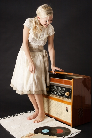 Blonde and music  Stock Photo
