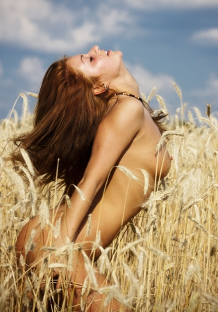 Young nude woman at the rye field  photo
