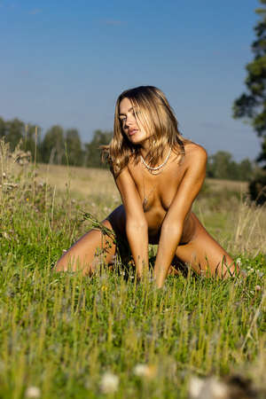nude outdoors: Naked girl sunbathes on a meadow  Stock Photo