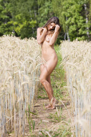Nude in the Rye  A young babe on the field  photo