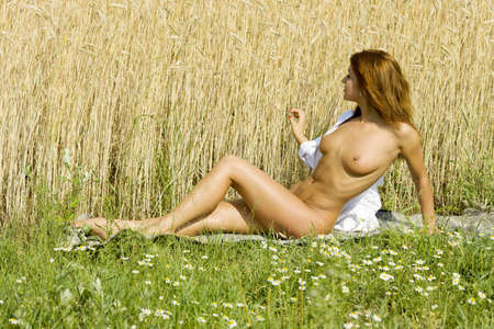 Young naked woman of rye photo