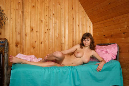 tits: Nude girl  Portrait of a young naked woman with big boobs