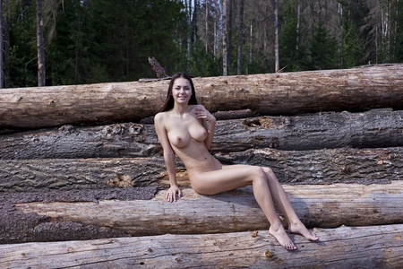 young naked girl: A girl with big boobs on the logs  Stock Photo