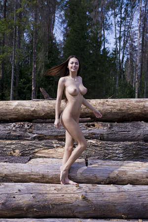 tits: A girl with big boobs on the logs  Stock Photo