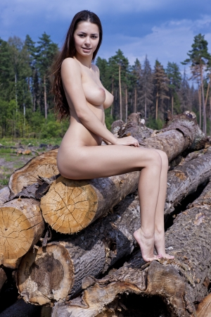Sexy  woman naked: A girl with big boobs on the logs  Stock Photo