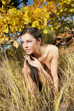 female nudity: Young naked woman in the autumn forest. Portrait of nudity girl.