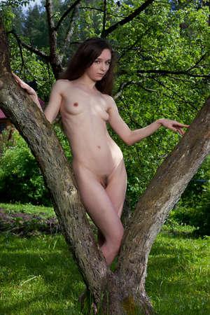 Nude girl in the spring garden  Stock Photo