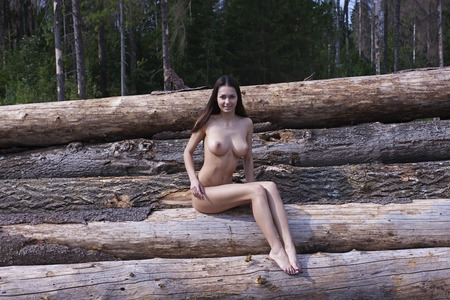 tits: Naked girl with big tits  Stock Photo