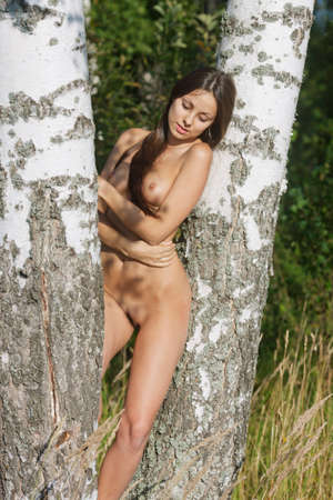 girl boobs: Nude girl in the birch forest. Portrait of a naked woman. Stock Photo