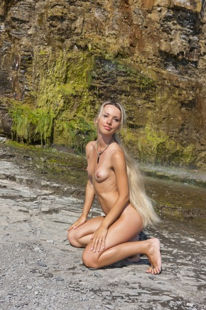 nude breasts: Girl topless outdoors. Portrait of a naked woman. Stock Photo