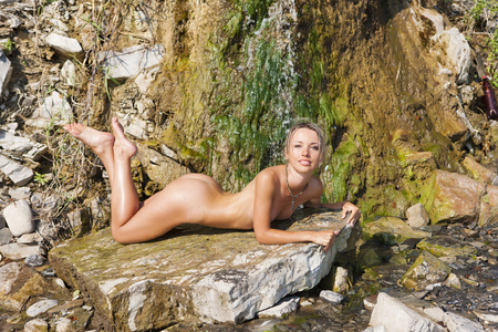 breasts girl: Girl topless outdoors. Portrait of a naked woman. Stock Photo
