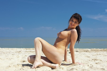 beach breast: Girl topless outdoors. Portrait of a naked woman. Stock Photo