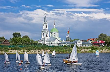 volga river: Sailing boats near the Catherines convent. Russia, Tver Volga River.