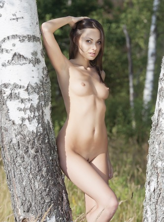 beautiful naked woman: Nude girl in the forest.