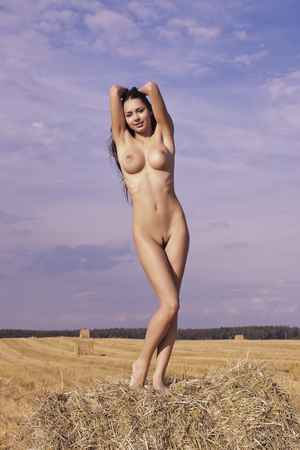 nudity woman: Beauty on a haystack. Portrait of a young woman.