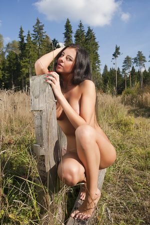 Portrait of a young naked woman. photo
