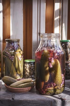 Marinated vegetables in jars.
