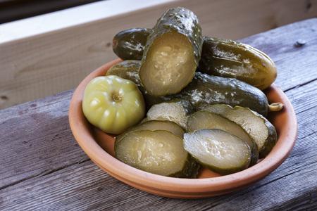 Marinated cucumbers and tomatoes Stock Photo