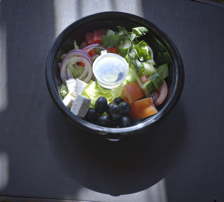 Greek salad in the package. Stock Photo