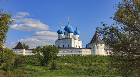 View of the Vysotsky Monastery. Stock Photo