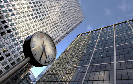 office buildings: clock and office buildings