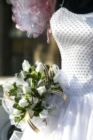 bridal gown: bridal gown and bouquet Stock Photo