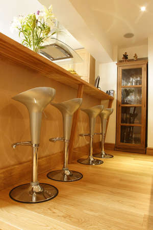 crome stools on wooded floor Stock Photo - 275520