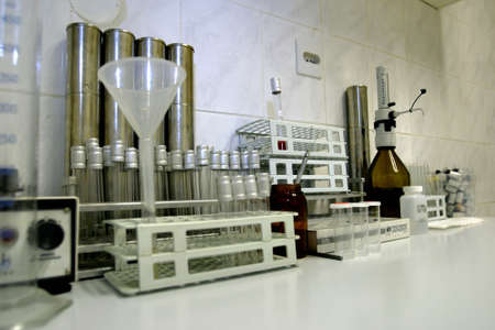 medical testing: laboratory equipment for testing dairy products Stock Photo