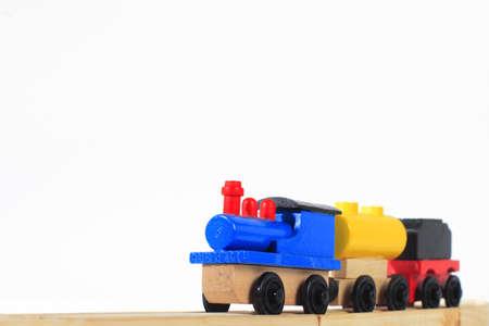 wood toy train Stock Photo