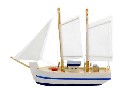ketch: toy sailing boat on white background Stock Photo