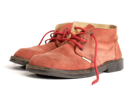 old worn red boots photo