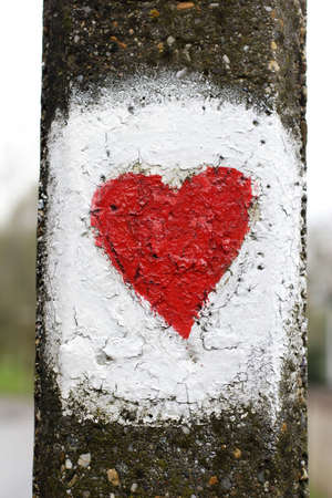 painted love heart on lamp post