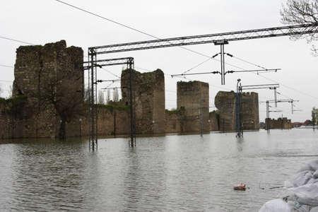 deluge: flooded rail yard Smedrevo Serbia