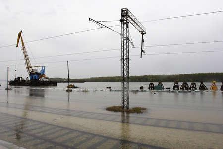 flooded rail yard Smedrevo Serbia