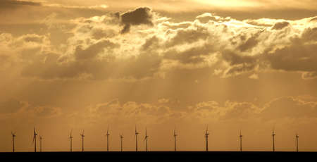 offshore windfarm at sunset Stock Photo
