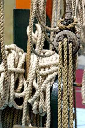 traditional climbing: detail from thames sailing barge Stock Photo