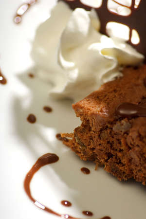 close up photograph of delicious chocolate dessert with fresh cream