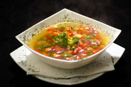 colorful bowl of fresh vegtable soup Stock Photo