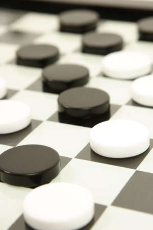 draughs or checkers black and white board game