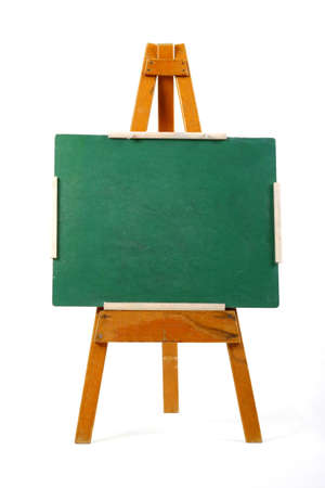 blank green chalk board on easel Stock Photo