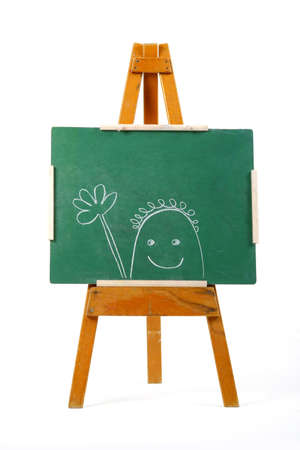 happy person drawn on green chalk board Stock Photo - 746946