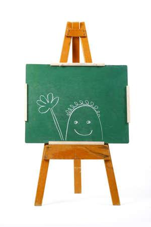 happy person drawn on green chalk board photo