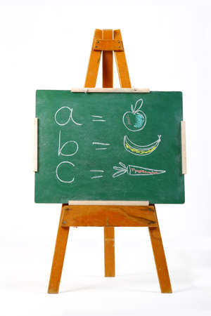 learning the alphabet on a chalk board